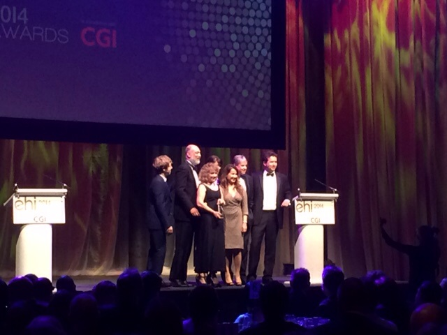 Entec Health and Kings College Hospital Diabetic Foot Clinic Team picking up their award at EHI Awards evening October 2014